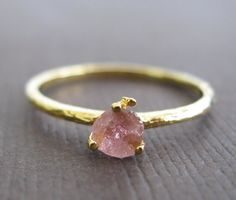 I love this! maybe i'll have it one day! Organic Raw Petite Pink Tourmaline 22k Vermeil Stacking Clutch Cocktail Ring q on Etsy, $42.00