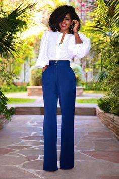 Style Pantry | Eyelet Bishop Sleeve Blouse + High Waist Wide Leg Pants