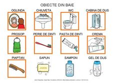 Obiecte din baie by Dana Horodetchi, via Slideshare Romanian Language, Autism Activities, Worksheets For Kids, Videos Funny, Crafts For Kids, Preschool, Tudor, Bullet, Parenting