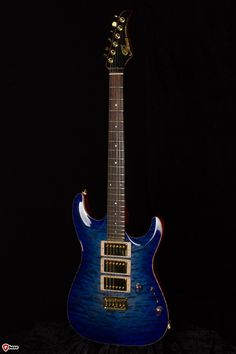 Pensa MK 1 in a stunning Blue-Purple Burst nitro finish on a Quilted Maple top with cherry finish back. The Mahogany neck features a black headstock face with the Pensa logo in solid gold with an E...