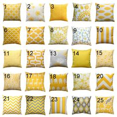 This decorative yellow pillow cover adds the perfect touch of color to any home decor! This pillow cover features the shades of corn yellow and white. Choose from many different throw pillow patterns!  Decorative Pillow Color Features: • Made to fit an 18x18 inch pillow insert • Colors: yellow and white • Fabric: 100% Cotton, medium-weight fabric, slub texture • Same fabric on front and back, pattern lines up on all sides, inside edges are serged to prevent fraying • Zippered Pillow…