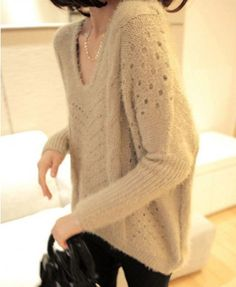 Oversized Beige V Neckline Cable and Cut Out Knit Jumper