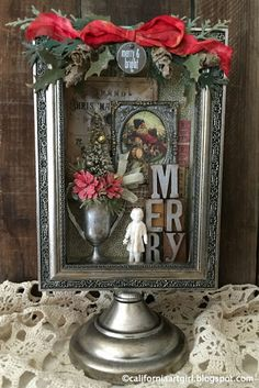 Elegant Holiday Shadow Box with Richele Christensen Christmas Scenes, Christmas Art, Christmas Projects, All Things Christmas, Christmas Holidays, Christmas Ornaments, Christmas Vignette, Christmas Games, Christmas Goodies