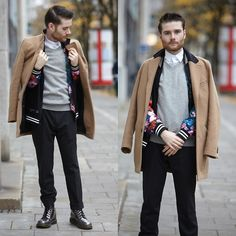Get this look: http://lb.nu/look/6888790  More looks by Michael Späth: http://lb.nu/thelostboyde  Items in this look:  Topman Camel Coat, Tommy Hilfigger Pullover, Criminal Damage Flower Jacket, Zara Pants, Dr. Martens Shoes