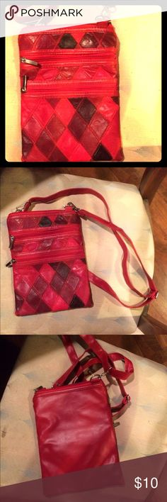 🔴Red Crossbody🔴 Red diamond pattern crossbody. Different shades of red with three zippers on the front. Has a long adjustable strap w silver hardware Bags Crossbody Bags