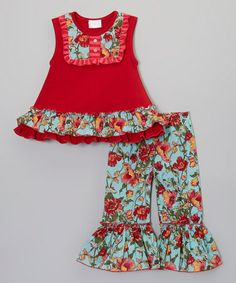Another great find on #zulily! Red Floral Ruffle Top & Pants by One Posh Kid #zulilyfinds