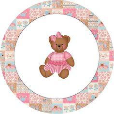 Ursinha de Vestido Marrom e Rosa - Kit Completo com molduras para convites, rótulos para guloseimas, lembrancinhas e imagens!