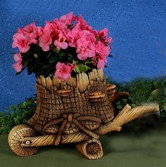 gnomb gardens | Garden Gnome Woodland Wheelbarrow Unpainted Ceramic Statue Planter