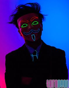 Rave EDM Mask, 4 Colors Light Up Glow Neon El Wire LED Guy Fawkes V for Vendetta Mask For, Halloween,LED, El Wire, TurnNeon.com ID521