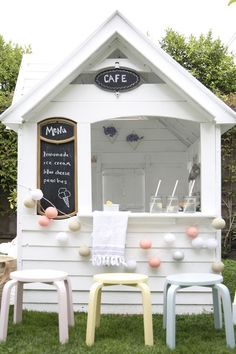 Diy Outdoor Kids Playhouse Wooden Pallets Ideas For 2019 Costco Playhouse, Backyard Playhouse, Build A Playhouse, Playhouse Ideas, Wooden Outdoor Playhouse, Childrens Playhouse, Playhouse For Kids, Modern Playhouse, Backyard For Kids