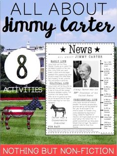 This Jimmy Carter pack includes the following:- Reading Passage- Comprehension Questions- Biography Notes - Time Line: cut and sort- All about Jimmy Carter Graphic Organizer- Main Idea- All about Jimmy Carter Reader (Great for Guided Reading)- My Jimmy Carter Fact Book (Record information)