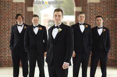 black tux, orange boutonnieres, different groom boutonniere #groomsmen #fleurtaciousdesigns -Clark & Walker Photography