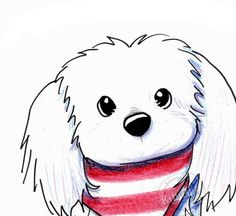 © KiniArt™ - ALL Rights Reserved. Original Maltese Dog Art Girl by KiniArt on Etsy, $50.00