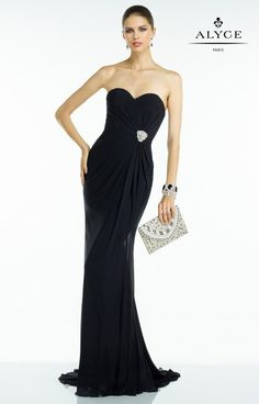 Alyce Paris Prom 2016 Bdazzle #35805 www.thecastlepromandbridal.com  Little black dress alert! Perfect for prom or military ball!  Color choices: Black Blue Coral Midnight Red Turquoise