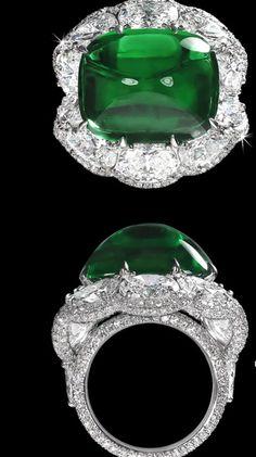 David Morris Platinum, Diamond & Emerald Ring.