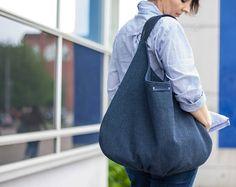 Marvelous Make a Hobo Bag Ideas. All Time Favorite Make a Hobo Bag Ideas. Slouch Bags, Japanese Bag, Plaid Fabric, Woven Fabric, Boho Green, Blue Canvas, Large Canvas, Large Shoulder Bags, Denim Bag