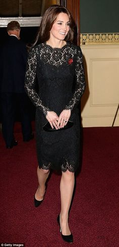 The dignified Duchess: Kate is elegant in demure black lace dress as she joins Wills and the Queen for Festival of Remembrance | Daily Mail Online