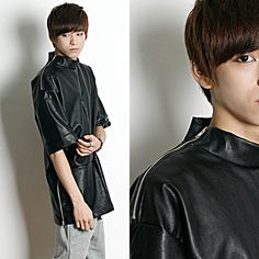 Remember Click Short Sleeve Leather T-Shirt BLACK ONE SIZE Korean Wear #RememberClick #BasicTee