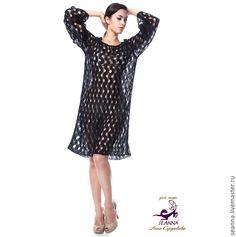 """Купить Платье """"Зигзаг"""" вязаное из мягчайшего мохера - чёрный, платье вязаное, вязаное платье"""
