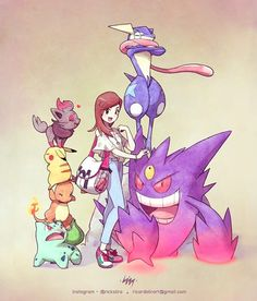 Pamela and her Pokémon team. Order for the trainer The waiting list for will open in AUGUST. Information and budget… Pokemon Oc, Pokemon Comics, Pokemon Fan Art, Cute Pokemon, Pokemon Cards, Pokemon Fusion, Cosplay Pokemon, Pokemon Images, Pokemon Pictures