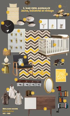 Unisex Yellow Industrial Nursery - Pouponnière jaune - Chambre de bébé jaune