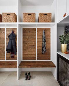 21 Mudroom Storage and Organization Ideas Concrete Look Tile, Brick Tiles, Ikea Ivar Cabinet, White Built Ins, Ceiling Shelves, Glazed Brick, Reclaimed Wood Floating Shelves, Vintage Stool, Entryway Wall