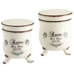 Footed Bath Canisters 4 to 5 inches high. $ 10- 12.00