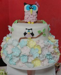 Bolo em Pasta Americana #coruja #flores #bolo #cake