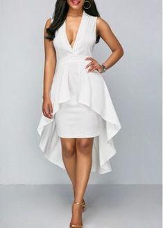 Overlay Embellished V Neck White Sheath Dress Simple Dresses, Beautiful Dresses, Casual Dresses, Fashion Dresses, White Sheath Dress, White Dress, Maid Dress, White Outfits, White Fashion