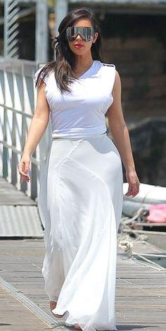 Kim Kardashian wearing Rick Owens Plastic Shield Sunglasses Gucci Anita Metallic Leather and Suede Sandal