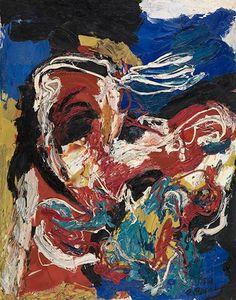 Vliegende man, olieverf op doek, 1958. Karel Appel