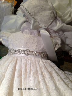 Elisabeth,Christening Gown, Hat, Slip, Slippers, and Personalization