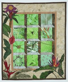 """""""It's A Jungle In There"""" by Suzanne Connor.  Inspired by the Providence Botanical Garden: This wallhanging features her original photographs which she has gicleed onto 240 thread count cotton lawn."""