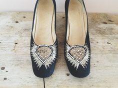 vintage 1950s black 'diamond' heels size 7 by lippedlove on Etsy