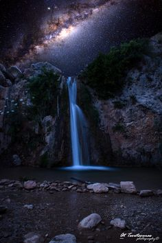 Paradise or not ? by Thanasis Tsoutsouras on 500px.. #waterfall #calmness #copyrights #greece #landscape #longexposure #milkyway #night #nightphotography #nightscape #nikon #outdoors #reserved #sky #stars #thanasis #tsoutsouras A waterfall under the milky way enjoy it. Two exposures merged as one.  Hope you like it.