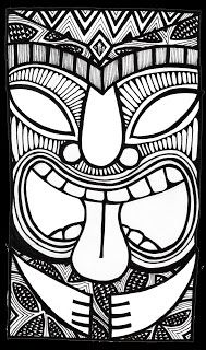 Stitchlily: How to draw a Tiki Head - complete tutorial with lots of great ideas! Doodles Zentangles, Kratz Kunst, Tiki Maske, Tiki Faces, Tiki Head, Tiki Art, Tiki Tiki, Tiki Totem, Hawaiian Art