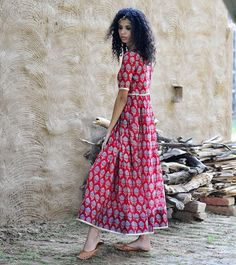 Red chanderi gown by KharaKapas on Etsy