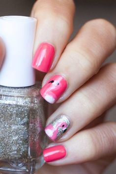 Pink Flamingo nail art...mama this kids for you!