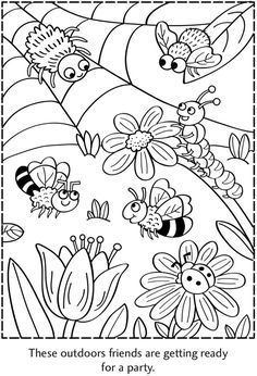 Spot the Differences Picture Puzzles Dover Publications Insect Coloring Pages, Coloring Book Pages, Printable Coloring Pages, Coloring Sheets, Art Drawings For Kids, Drawing For Kids, Easy Drawings, Art For Kids, Bug Crafts