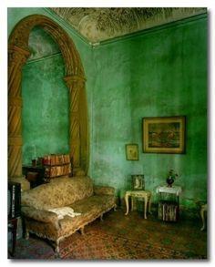 Emerald green plaster wall