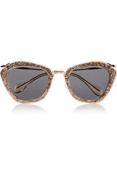 1c40a86f44 Miu Miu - Cat-eye glittered acetate and metal sunglasses