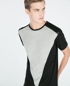 Image 3 of T-SHIRT WITH SYNTHETIC LEATHER TRIANGLE from Zara
