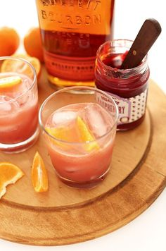2 Tbsp preserves or jam of choice (we went with organic raspberry) 2 Tbsp bourbon 1 Tbsp triple sec 2-3 Tbsp orange juice Orange segments A ...