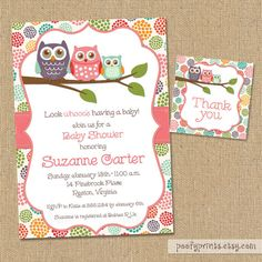 Owl Baby Shower Invitations - DIY Printable Baby Girl Shower Invitations - FREE Matching Thank You Tags
