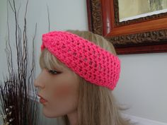 Bubble Gum Pink Crochet Flapper Style Headband Turban. Great for Skiing, snowboarding, skating by yarnnscents on Etsy