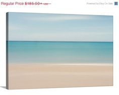 ON SALE Canvas Gallery Wrap Abstract Photo Ocean Caribbean Beach Blue Teal Turquoise Beige White Soft Muted Relaxing Wall Art Home Decor