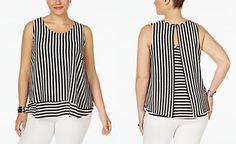 Monteau Trendy Plus Size Sleeveless Striped Blouse
