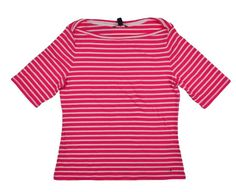 Tommy Hilfiger Women T Shirt Top Scoop Neck Fuschia White Striped Size Large NEW #TommyHilfiger #TShirtTop #Casual