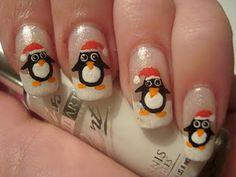 Winter Penguin Nail Art Manicure!!! Follow at paintthatnail.com