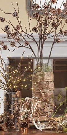 Top 12 Christmas Centerpieces: Rustic LED Branches with Birch Bark and Pinecones